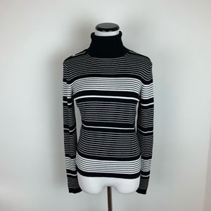Topshop Turtleneck Striped Sweater Ribbed Black